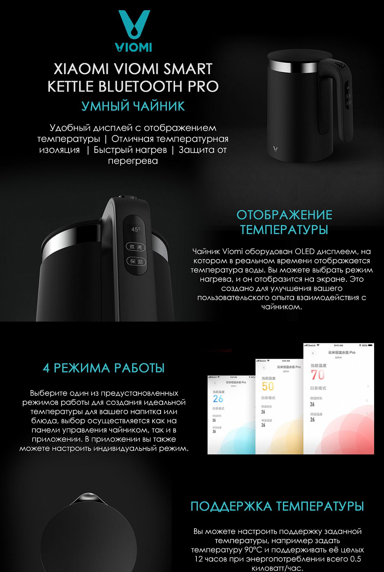 Фото обзора 0 Чайник Xiaomi Viomi Smart Kettle Bluetooth Pro YM-K1503 Black